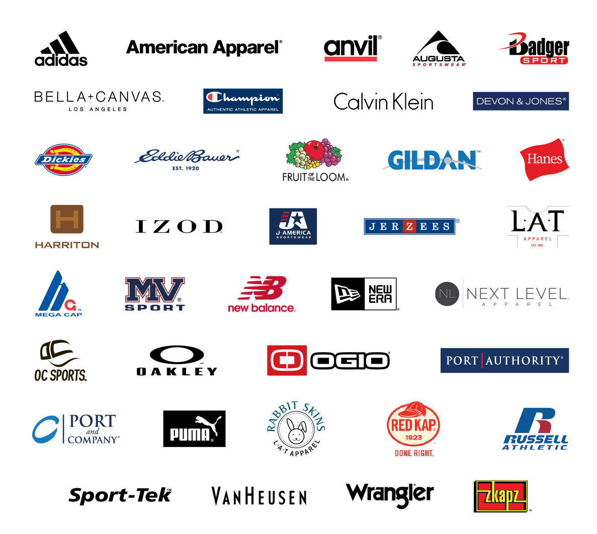 Products full press apparel for T shirt brand name list