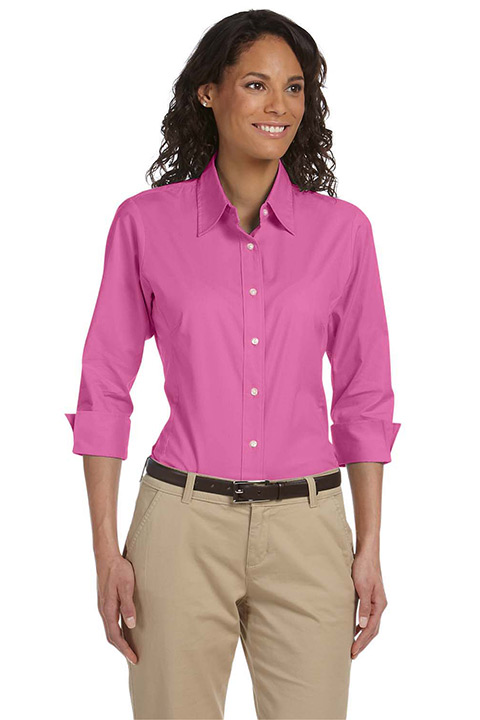 DP625W-Pink-Quarter-Poplin-Ladies-Blouse